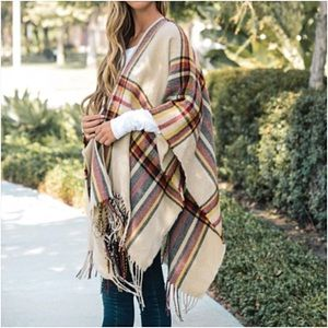 Sweaters - Cozy Chic Plaid Sweater Kimono Wrap O/S